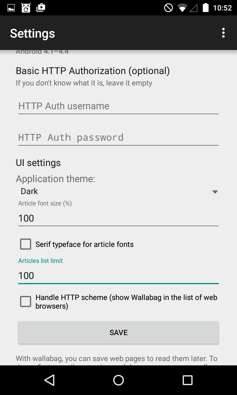 Bottom of the settings screen